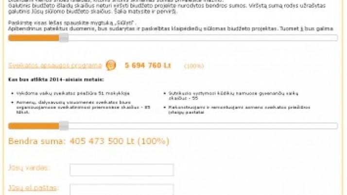 Klaipėdos miesto savivaldybės 2014 metų biudžetas – kaip skirstytum Tu?